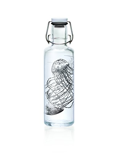 Soulbottles 0,6l Trinkflasche aus Glas • Verschiedene Designs, Made in Germany, vegan, plastikfrei, Glastrinkflasche (Jellyfish in The Bottle)