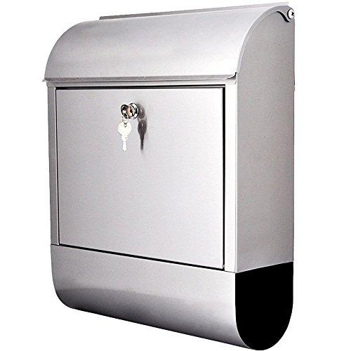 Jago Oramics 89896-B Briefkasten mit Zeitungsfach und Namensschild zur Wandmontage Postkasten, Metall, Silber, 32 x 40 x 12 cm
