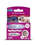 Bio Ears Soft Silicone Earplugs Protection 3 Pairs, Pink, Reusable with Carry Case, Contains Activaloe - Antimicrobial Product Protection.