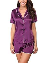 78dbbfb5c4417d Giorzio Damen Satin Schlafanzüge Sommer Nachtwäsche Kurz Pyjama Set  Zweiteiliger V-Ausschnitt…