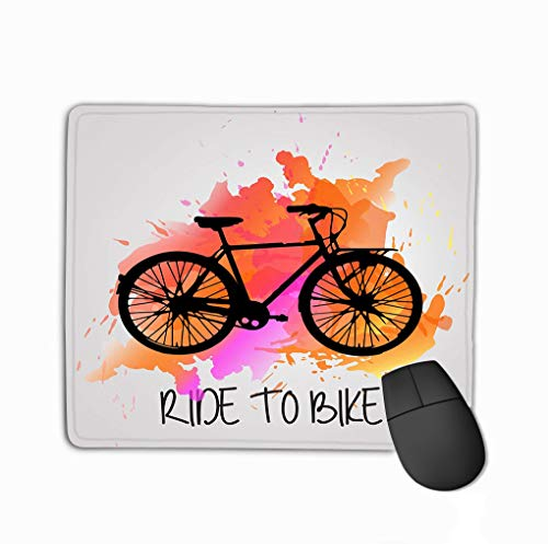 Mouse Pad Bike Color Splash Inked Rectangle Rubber Mousepad 11.81 X 9.84 Inch -