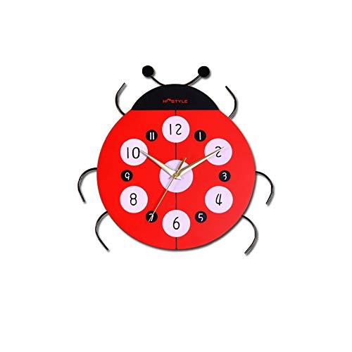 NLJLN Wanduhr Wohnzimmer-Gartenuhr der Karikaturkäferkinderzimmeruhrpersönlichkeit kreative Wanduhr Moderne Wanduhren 14 Zoll