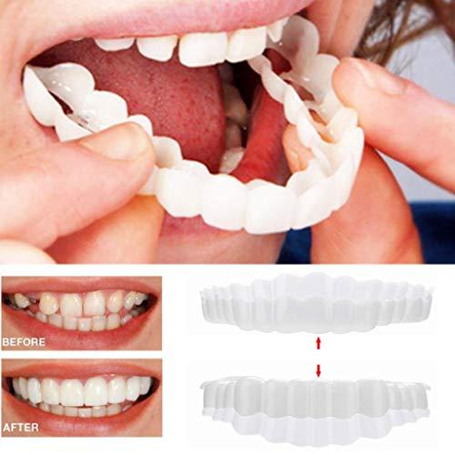 BZLine® Provisorischer Zahnersatz, 1 Paar kosmetische Zahnmedizin Snap auf Instant perfekte Lächeln Comfort Fit Flex Zähne Veneers Zähne kosmetische Aufkleber mit Zahnbürste