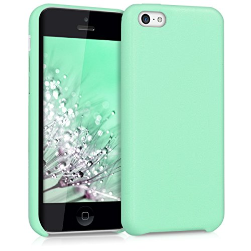 kwmobile Cover per Apple iPhone 5C - Custodia protettiva matt in similpelle - Backcover Case per cellulare beige .menta