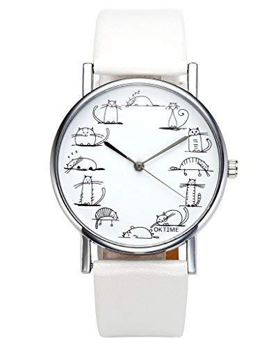 JSDDE Relojes, Fashion Cute Dibujos Animados Gatos Reloj de Pulsera Gato Escala Maedchen Mujer Reloj...