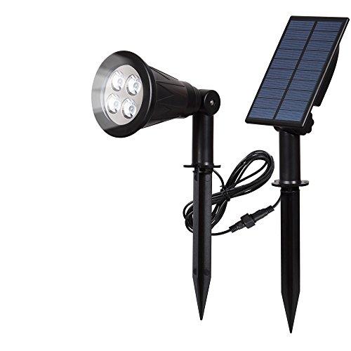 [Trennbarer Solar Panel] T-SUN Solar Gartenleuchten, 4LED Wasserdicht Drahtlos Solarbetriebene Sicherheit Gartenleuchten mit Erdspieß für Garten / Outdoor Landscape