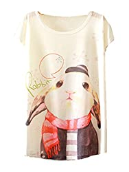 YICHUN Women Girls Thin Tops Leisure T-Shirt Casual Wear Tunic Tees Printed Blouse Printing