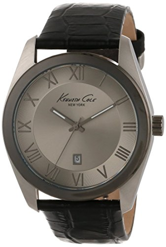 Kenneth Cole Men's 44mm Blue Calfskin Band Steel Case Quartz Grey Dial Analog Watch KC1925 (Certified Refurbished)