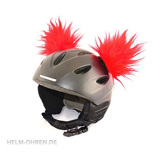 """Helm-Ohren""""Rot"""". Gemacht für den Skihelm, Snowboardhelm, Kinder-Skihelm, Fahrradhelm oder Motorradhelm - macht den Helm zu einem echten HINGUCKER - für Kinder und Erwachsene HELMDEKORATION"""