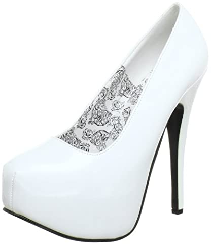 Bordello Teeze-06 Damen Plateau Pumps, Weiß (Wht pat), EU 41 (UK 8) (US 11)