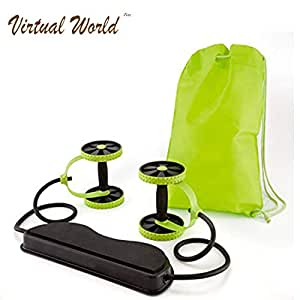 VIRTUAL WORLD Foldable Revoflex Xtreme Rally Multifunction Pull Rope Wheeled Health Abdominal Muscle Training Home Fitness Equipment Green