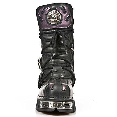 New Rock Metallic nero Pelle Stivali M.591-S5 Violet, black