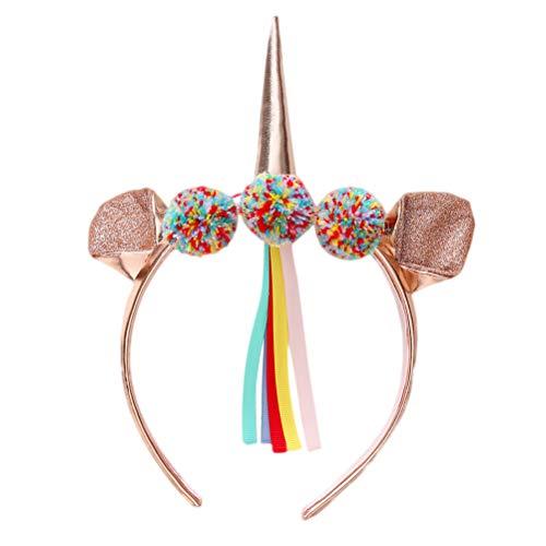 Lurrose 1 stück Einhorn Stirnband PU Katze Ohr und Horn Haarband Quasten Paillette Haarband Halloween Haarschmuck für Mädchen