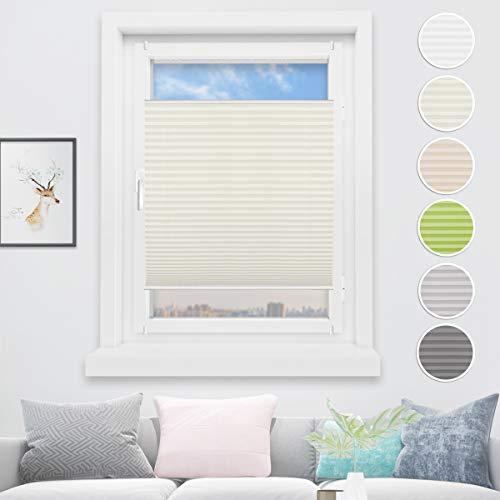 HOMEDEMO Plisseerollo Klemmfix Schalosien Plissee ohne Bohren Jalousie für Fenster und Tür Sichtschutz und Sonnenschutz 40 x 100 cm Beige