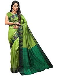Craftsvilla Women's Silk Saree Blend With Zari Border Work Traditional Green Saree With Blouse Piece