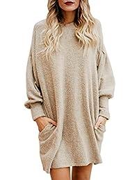 Suéter mujer, ❤️Xinan Blusa de mujer de moda Suéter largo con bolsillo o cuello sólido Sudadera suelta casual de manga larga