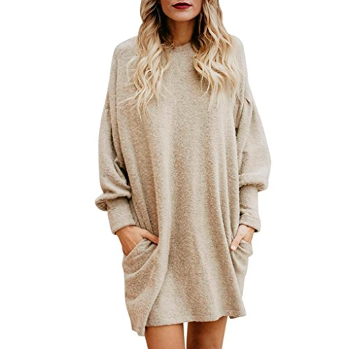 Suéter mujer, ❤️Xinan Blusa de mujer de moda Suéter largo con bolsillo o cuello sólido Sudadera suelta casual de manga larga (S, ❤️Beige)