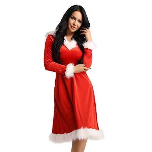 dPois Damen Weihnachten Samt Kleid Kostüm mit Kapuzen Langarm Kunstpelz Dekoriert Santa Claus Cosplay Bekleidung für Fasching Karneval Party Rot (Weibliche Santa Kostüm)