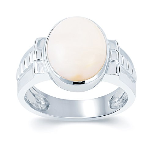 G-Luck Certified Natural Opal 92.5 Sterling Silver Gemstone Ring For Men