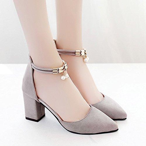 XY&GKDonna Sandali tacchi alti, Donna Scarpe estive, ruvido con Baotou sandali, una parola, onorevoli colleghe, Roma scarpe, 36, nero,con il migliore servizio 37gray
