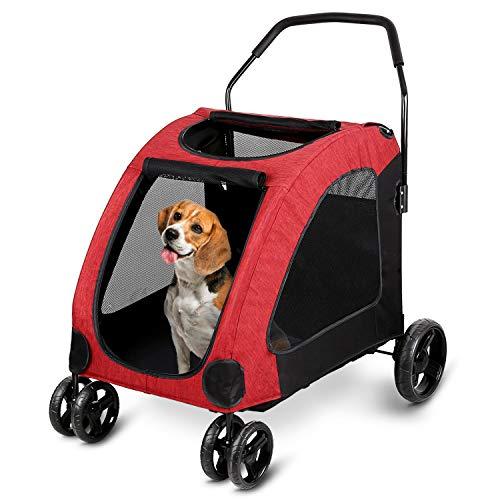 amzdeal Passeggino per Cani, Pet a Quattro Ruote Trolley per Gatti Cani (Nero)