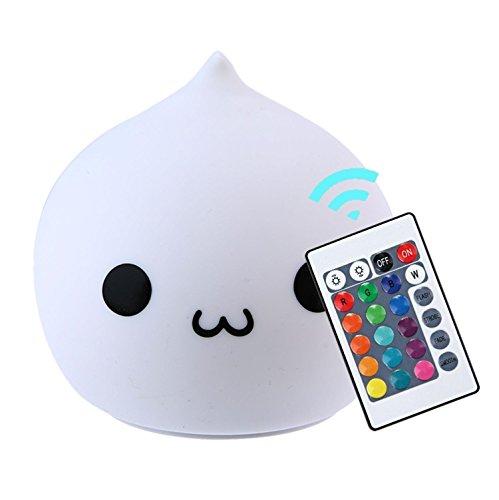 Silikon LED Nacht Licht Lampe mit USB Wiederaufladbare Fernbedienung für Kinder Schlafzimmer Dekor Lampe, Wasser Drop A (Süße Katze Gesichter Halloween)