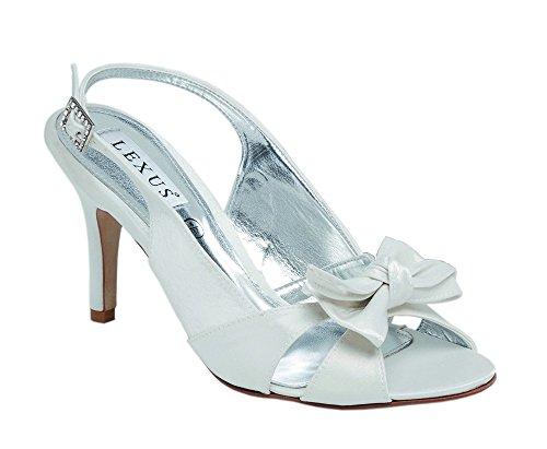 Lexus hauts talons pour chaussure de mariée en strass avec nœud et boucle en ivoire. Blanc cassé - ivoire