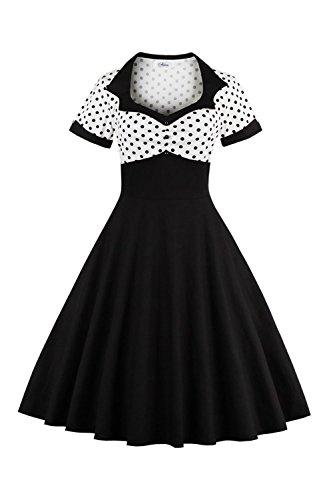 Yacun Femme Cocktail Vintage Robe des Annee 50 Rockabilly Polka Dot Tunique Midi Swing Robes De Soirée Noir 4XL