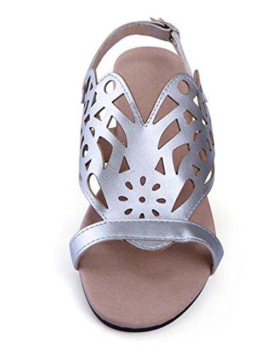 Estate delle ragazze delle donne pantofole artificiale Pu casual Tallone piano Pianura Fiori con fibbia scarpe comode semplici Europa Formato standard 30-45 Gold