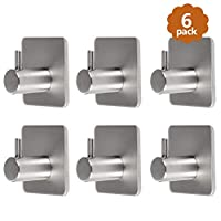 YANSHON 6Pcs Self Adhesive Hooks Stainless Steel Wall Hooks for Bathroom Kitchen Office, Extra Strong Adhesive Hangers for Hats Towel Robe Coat - Max 5kg