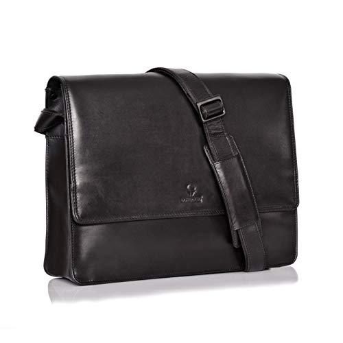 DONBOLSO Barcelona Messenger Bag Leder I Umhängetasche für Laptop I Aktentasche für Notebook I Tasche für Damen und Herren (Schwarz) - Nappa-leder-computer-aktentasche