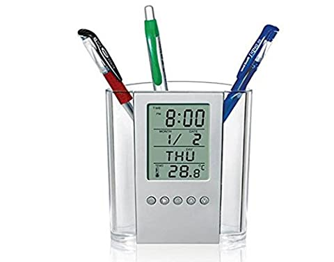 Lchen LCD Digital Home / Office Style Multi-Functional Desk Perpetual Calendar Temperature Alarm Clock Pen