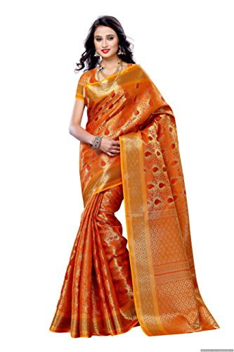 Mimosa Women'S Art Kanchipuram Silk Saree With Blouse,Color:Orange(3190-164-ORG)