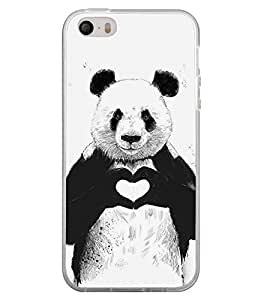 Panda with Heart Sign 2D Hard Polycarbonate Designer Back Case Cover for Apple iPhone 4