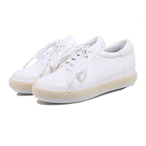 Schnüren Gemischte Damen Pu Rund Allhqfashion Absatz Weiß Leder Pumps Schuhe Farbe Zehe Niedriger RwtTxY