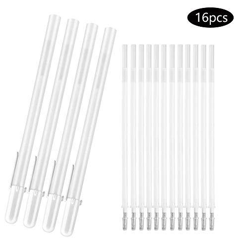 JUN-H 16 penne bianche per artista di carta scura Highlight disegno arte design Supplies 0,8 mm punta fine bianco gel penna Highlight Skizzieren (bianco)