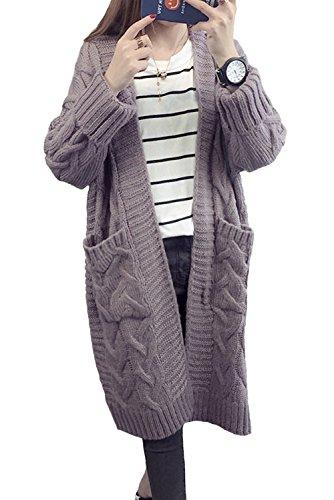LANOMI Damen Cardigan Lang Strickcardigan Winterjacke Strickjacke Strickmantel Mantel Pullover Pulli Offener Ausschnitt Mit Taschen 34 36 38 40 42 44 (Einheitsgröße 34 36 38 40 42 44, Lila)