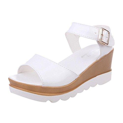 Sannysis Damen Sommer Sandalen Peep-Toe Niedrige Schuhe Weiß2