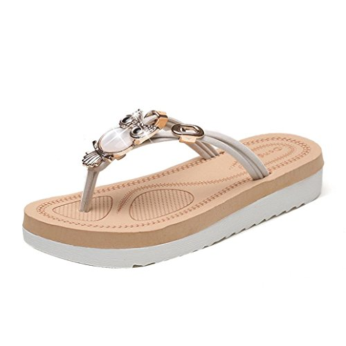 Mulheres Chinelos Hunpta Flor Sapatos toe Chinelos Tecer Sandálias Boemia Peep Praia Senhora Brancos UZCwqrUWxH