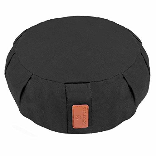 Coussin de yoga »Brahman« avec fermeture éclair & vannure d'épeautre biologique (culture biologique contrôlée) / Tailles: 42 x 15 cm - idéal comme coussin de yoga / coussin de méditation / coussin zafu / support de méditation / excellent confort d'assise / Matière : 100% coton - noir