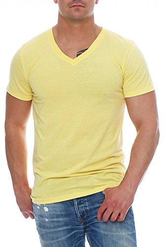 Happy Clothing Herren T-Shirt V-Ausschnitt Meliert Comfort Bügelfrei , Größe:L, Farbe:Gelb