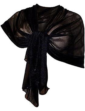 Elegante SCIARPA Scialle Glitter Brillante Foulard,da Donna Ragazza Coprispalle Stola Cerimonia in 14 Colori Tinta...