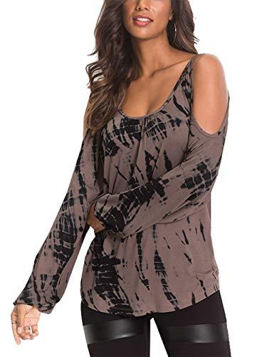 YOINS Damen Oberteile Elegant Bluse Damen Sexy Schulterfrei Herbst Langarmshirt Casual T-Shirt Braun M/EU40-42