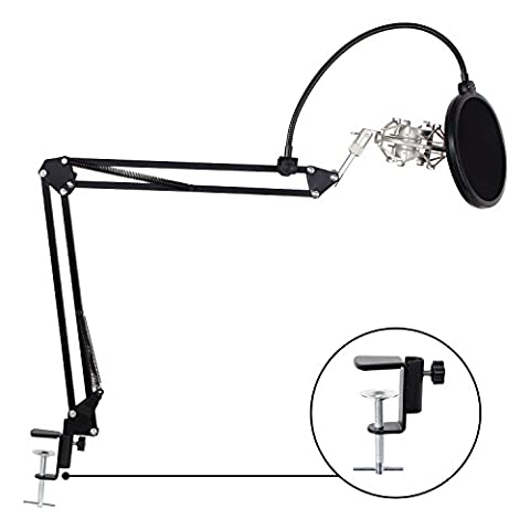 TONOR Adjustable Microphone Suspension Boom Scissor Arm Stand with Table Mounting Clamp & Metal Shock Mount & Pop