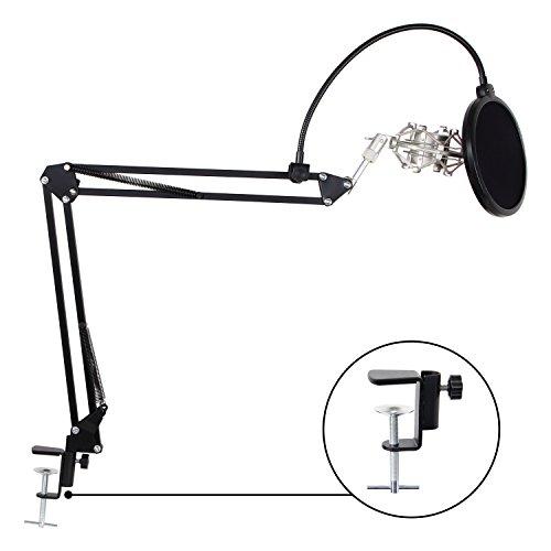 Tonor 2-in-1 Kit di Asta di Microfono Supporto Regolabile Sospensione Braccio a Forma Forbici con Morsetto di Montaggio & Montatura Anti-scossa di Metallo & Filtro Pop
