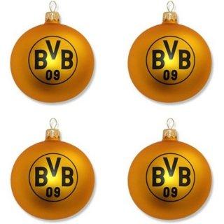 Brauns Borussia Dortmund Weihnachtskugel 4er-Set BVB, schwarz-gelb, 15192