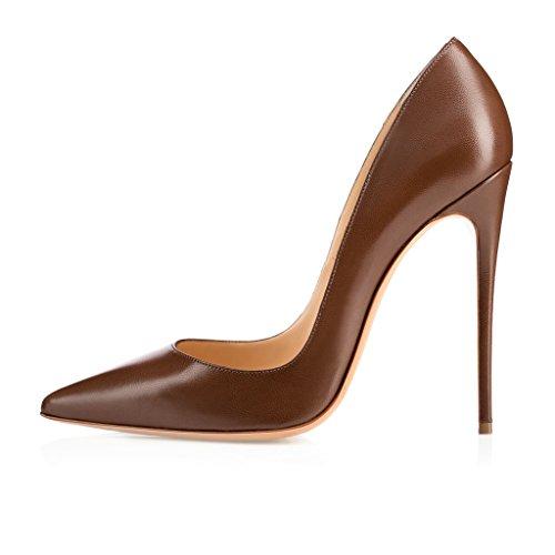 EDEFS Damenschuhe Faschion SUKaite 120mm Spitzschuh klassische Partei dünne Pumps Stiletto Schuhe Chocolate
