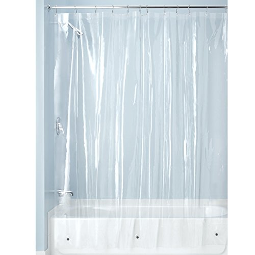 InterDesign 3.0 Liner Futter für Duschvorhang, 183,0 cm x 183,0 cm großer Vorhang aus schimmelresistentem PEVA mit zwölf Ösen, durchsichtig