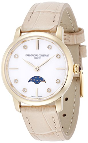 Frederique Constant Women's Slimline Moonphase Diamond 30mm Beige Leather Band Quartz Watch FC-206MPWD1S5