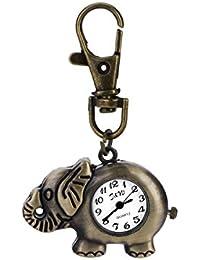 Demarkt Classic Design Unique Retro Style Elephant Pocket Watch Necklace Watch for Men Women Ladies Student Gift